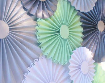 Mint green gray wall hanging, paper rosettes, pinwheel backdrop, table backdrop slate gray, gray, white, mint green