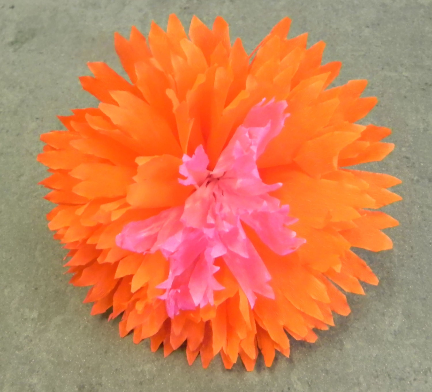 Mexican Crepe Paper Flower Hair Clip 2 tone Orange Pink