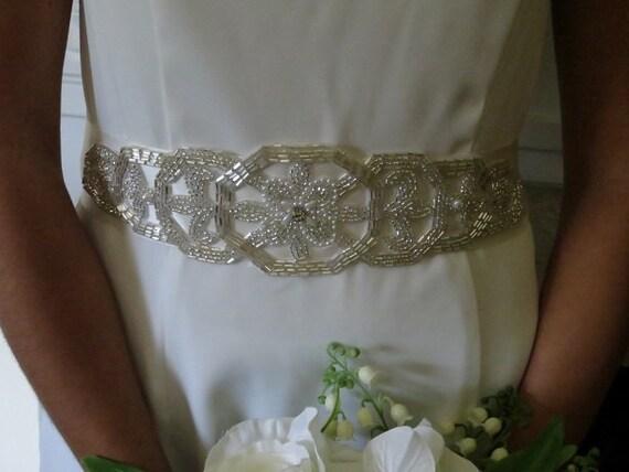 Sash, Crystal and silver beaded sash, Bugle beads, Beaded Sash, Geometric wedding sash, Wedding belt ,Gown accessory -GENEVA Sash