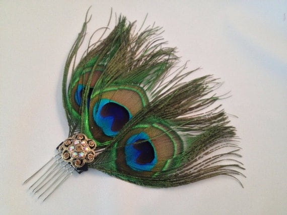 Peacock feathers , jeweled feathers, Jewel tone, feather  comb- DELIA  Peacock Comb