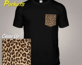 Leopard Print Tshirt With a Pattern Pocket Tshirt Animal Spots Skin Top Natural Fur Top Fashion Design Trendy Clothing