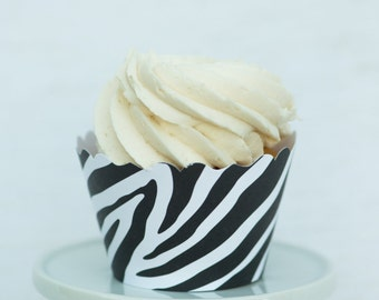 Black and White Zebra Print Cupcake Wrappers