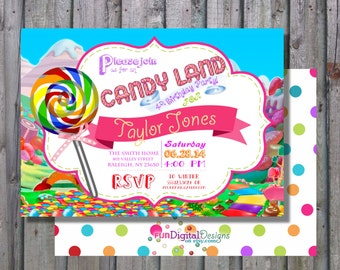 land of candy Birthday Party, Candy invitation, Candy Party, 1st, first, 2nd any age PRINTABLE Digital Rainbow