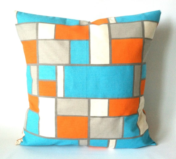 turquoise orange pillow covers 18 x 18 one by theseafoamcottage. Black Bedroom Furniture Sets. Home Design Ideas