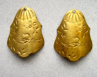 2 Brass Findings with Etched Swans.