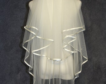 2 Layer Bridal Veil - pearl wedding veil - new white ivory bridal veil - cheap high quality veil - elbow veil - Wedding Accessories