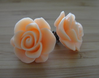 Large Orange Flower Earrings