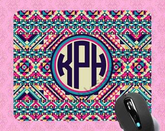 Monogrammed Mousepad - Aztec Tribal Mousepad , Personalized Mouse pad , Monogram Mousepad