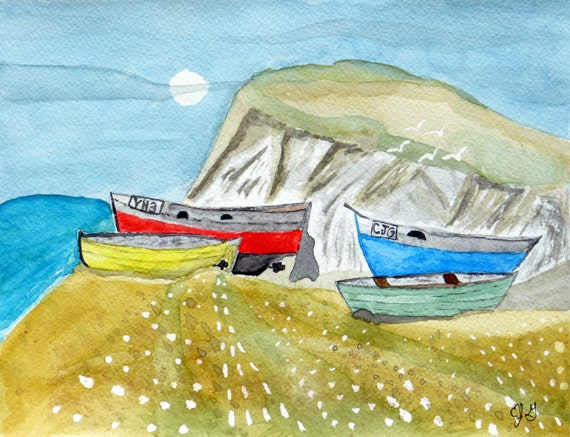 Boats on a Shore - Eric Gunty - Edible Cake and Cupcake Topper For Birthday's and Parties! - D5388