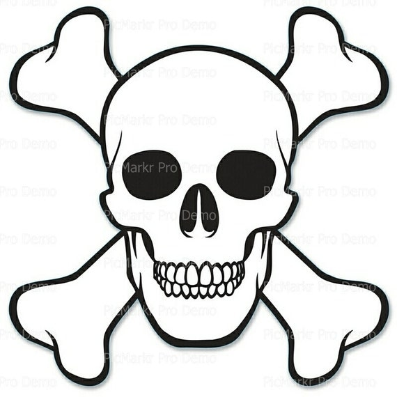 Skull and Crossbones Halloween - Edible Cake and Cupcake Topper For Birthday's and Parties! - D5839