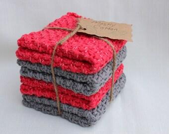 Crocheted Dishcloth, Red Dishcloths, Grey Dishcloths, Gifts under 20.00, Wedding Gift,