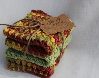 Crochet Washcloths, Spa Cloths, Cotton, Crocheted Dishcloths, Fall Decor, Gifts Under 20.00,