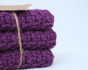 Crocheted Dishcloth, Purple Crocheted Dishcloths, Gifts Under 20.00,