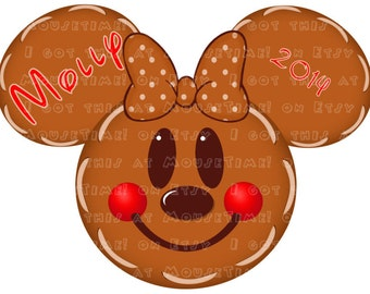 IRON-ON Christmas Gingerbread Ears - Minnie Version! - Mouse Ears Tshirt Transfer / Decal