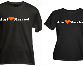 Just married bride and groom matching shirts set of 2 size and color choice honeymoon bridal shower gift new