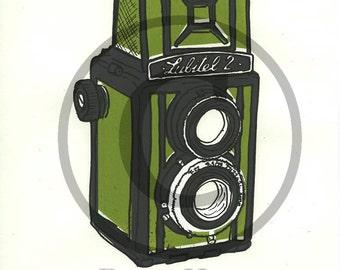 Screenprint of Lubitel 2 TLR Camera - Four Layer Screenprint, Dark Grey/Light Green on White Sketching Paper