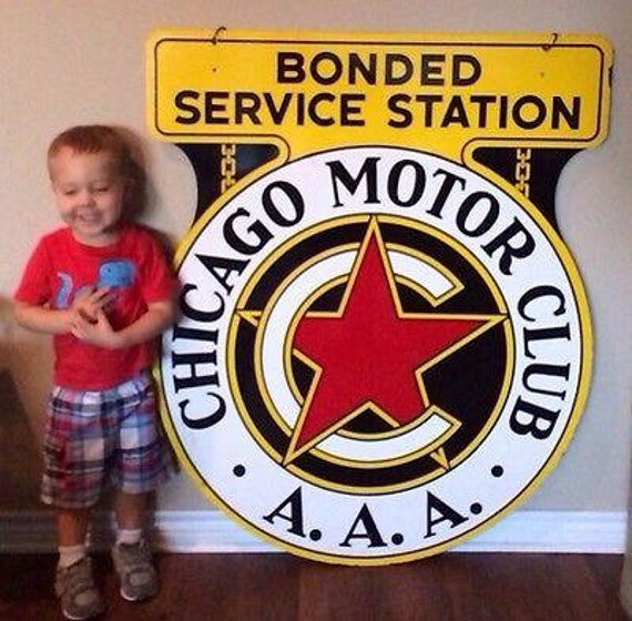 Vintage original chicago motor club aaa porcelain metal sign for Aaa motor club chicago