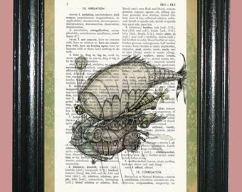 Dirigble Hot Air Balloon Dictionary Page Page Art Print Upcycled Dictionary Print Vintage Book Page Art cp452