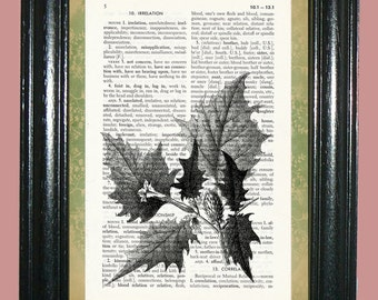 Holly Leaves Dictionary Page Art Print Dictionary Print Upcycled Art Print Vintage Book Page Art cp484