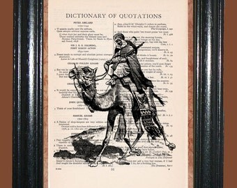 Middle East Camel Fighter - Vintage Dictionary Page Art Upcycled Book Art Print on Dictionary Page, Camel Fighter Print
