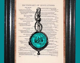Teal Blue Medallion - Vintage Dictionary Page Art Upcycled Book Art Print on Dictionary Page, Medallion Print