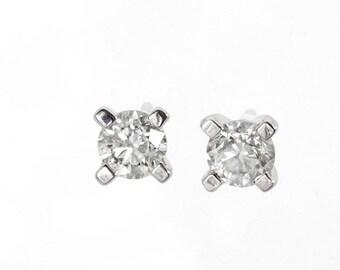 Art deco earrings-Diamond Gold Earrings-14K White Gold Earrings-Diamond Stud Earrings-Anniversary gift-Graduation gift-Gift for her
