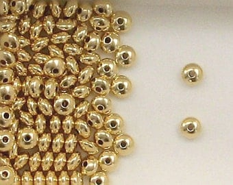 14k Gold Filled  4mm Rondelle or Saucer Spacer Beads, Choice of Quantity-Price Discounts, 604