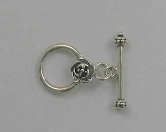925 Sterling Silver Rose Toggle Clasp Made in USA- 29