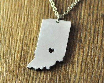 Love Indiana state necklace, personalized I heart Indiana necklace, custom map jewelry, Valentine gift for her girlfriend wife