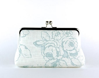 Wedding Clutch, Roses in Ice Blue Clutch, Silk Lining, Bridesmaid Gift, Bridesmaid clutch, Ice and Blush collection