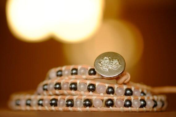 Hematite and Rose Quartz Leather Wrap Bracelet / Gorgeous X3 Wrap Gemstones Bracelet