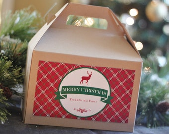Set 10 Kraft Gable boxes with custom labels - Christmas Plaid Rustic Deer Preppy Holiday gift wrap, favors or lunches