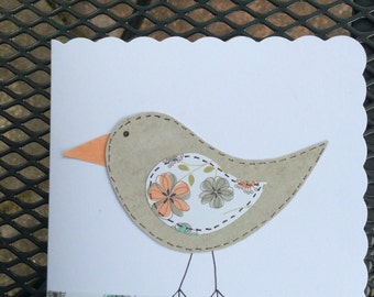 Handmade bird greetings card