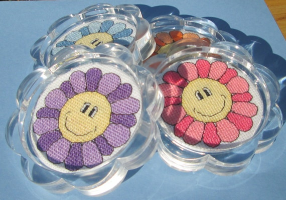Basket Weaving Supplies Eugene Oregon : Cross stitch pattern smiley flowers coasters or