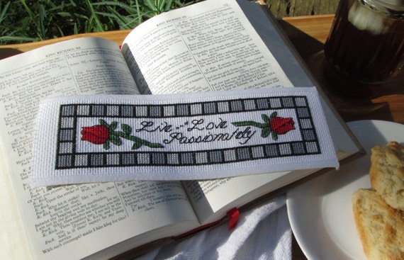 Basket Weaving Supplies Eugene Oregon : Cross stitch pattern live love passionately bookmark