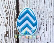 Blue Chevron Easter Egg Felt Clip, Girl Felt Clip,Photo Props, Hair Clip, Clippies, Children's Felt Hair Clip, Party Favor, Hair Accessory