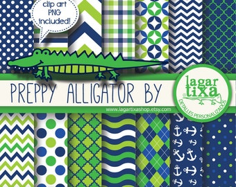 preppy Alligator digital paper green and blue polkadots, chevrons quatrefoil argyle patterns backgrounds scrapbooking alligator party