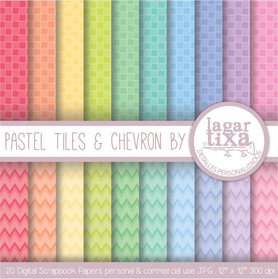 Papel Digital Azulejos y Chevron Pastel para por LagartixaShop