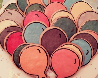 12 Balloon Cookies   1 Dozen Custom Made To Order