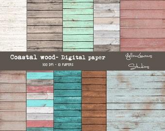 """Wooden digital papers """"COSTAL WOOD"""" fence, peeling paint, coastal colors, wood, teal, Digital Scrapbooking Paper Pack, 12""""x12"""", 300 dpi .jpg"""