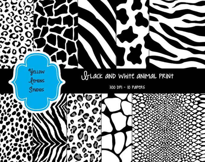 "Black and white Texture Digital Scrapbooking Paper ""ANIMAL PRINTS"" zebra, cow, cheetah, giraffe, snake, tiger, texture, matching, 12x12"
