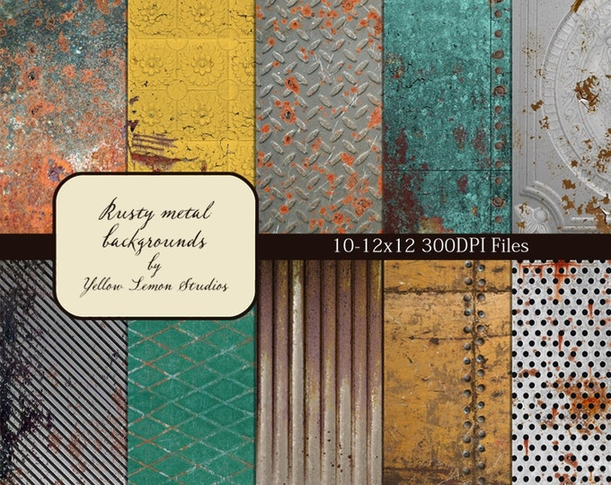 "Rusty metal digital papers: ""Metals in RUST"" pattern paper - paint, rust, texture, turquoise, corrugated metal, rivets, yellow, embossed"