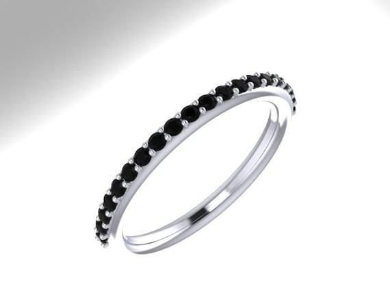 Natural Black Diamond Wedding Band Matching Ring 14K White Gold Band ...