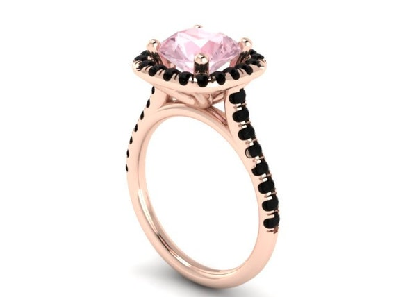 Black diamond halo engagement ring morganite engagement ring wedding