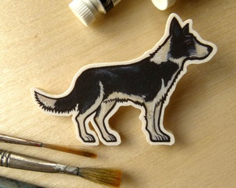 Border Collie - Handmade Wooden Dog Brooch with Print of Original Watercolour, Dog Jewellery, Dog Jewelry, Dog Pin pet portrait