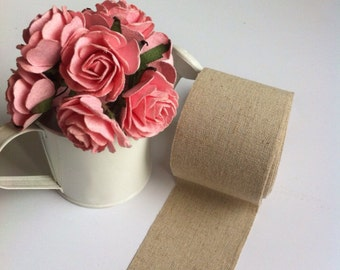 Natural FABRIC TAPE - self adhesive - 50 mm. X 2 m.  - Brown color/Kraft color - Cotton tape