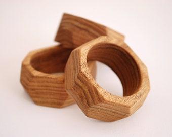 Geometric Napkin Rings - Wood Napkin Ring - Solid Wood - Set of 4 - Modern Decor - Table Decor - Hostess Gift/Wedding Gift - Oil Finish