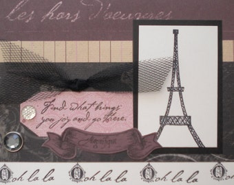 "Beautiful Handmade Card with Eiffle Tower that reads ""Find what brings you joy and go there""  ""oh la la"" ""magnifique"" Blank inside"