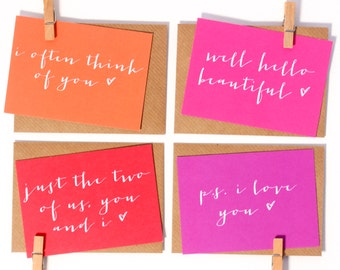 Mini Love Notes - Notecard Set - Love Note - Mini Valentine's Cards - Postcards - Note Card - Anniversary Card - Calligraphy - Wedding Card
