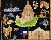 "Texas Our Texas Black cotton panel -- approximately 23"" x 44"""
